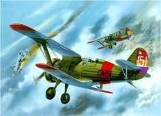 Polikarpov I-15 shooting down a HE-51