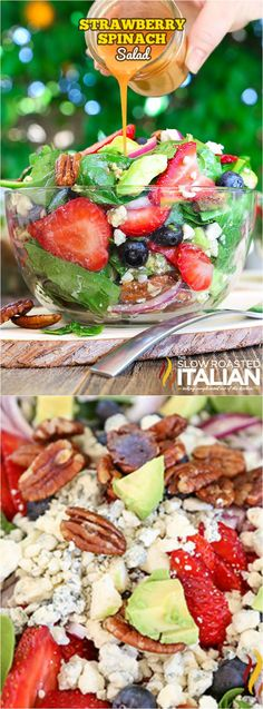 This Best Ever Strawberry Spinach Salad from The Slow Roasted Italian is a simple recipe that celebrates summers bounty in the most awesome salad you will ever eat!