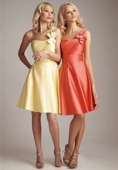 bridesmaid dresses. i'd either keep the one shoulder or have it strapless but definitely different colors