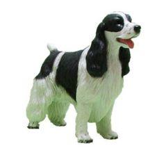Black White Springer Cocker Spaniel Dog Figurine