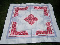 Vintage Floral Tablecloth Red White and Blue