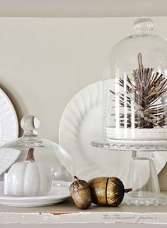 acorns and pinecone fall decor