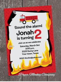 Fire Truck Birthday Invitations with FREE by PaperMonkeyCompany, $1.00