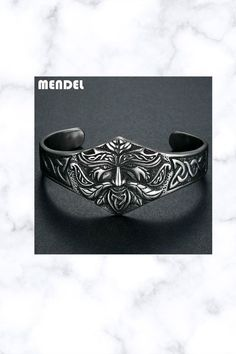 Stainless Steel Ancient Norse Viking Cuff Bracelet Bangle