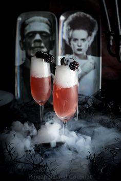 Bride of Frankenstein Cocktail - Vanilla Blackberry Champagne Cocktail