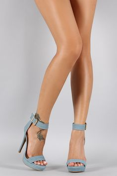 Shoe Republic LA Denim Ankle Strap Stiletto Heel