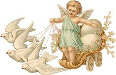 Zibi Vintage Scrap: The Messenger of Easter Vintage Easter, Vintage Valentines, Vintage Crafts, Vintage Art, Cherub Tattoo, Victorian Angels, Angel Images, Easter Art, Clipart