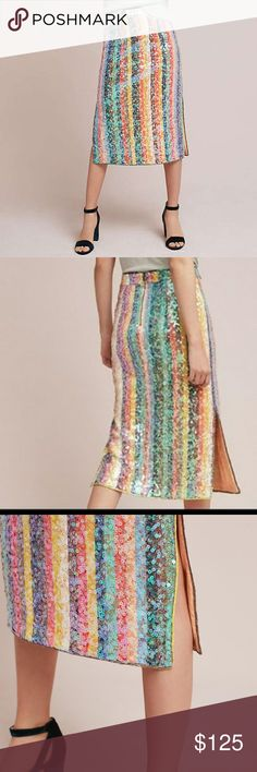 Anthropologie Rainbow Sequin Skirt Size 8 Maeve Anthropologie Rainbow Sequin Skirt. Blogger fave, it sold out IMMEDIATELY.  A perfect dup for the similar Gucci skirt and a fraction of the cost.   Vibrant stripes and all-over sequins make a statement - pair with a silk cami or a graphic tee for effortless, fete-worthy style.  See my listings for other sequin skirts to bundle up and save.  All items are from a smoke-free home. Anthropologie Skirts Midi
