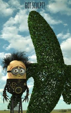 Despicable Me Minion cosplay: Edward Scissorhands Minion. Framing this.
