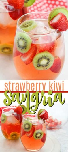 A delicious summer strawberry cocktail, this Strawberry Kiwi Sangria uses pink rosé to create a fruity and fun sangria recipe that's perfect for parties. #sangriarecipe #howtomakesangria #sangria #strawberrysangria #summersangria #summercocktails #bridalshower #summerwedding #amandascookin