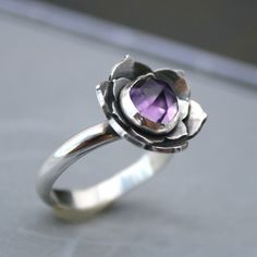 Lotus Amethyst Ring, Sterling Silver Cocktail Ring, Statement Ring, Solitaire, Faceted Rose Cut Gemstone, Purple Jewel, Lotus Flower