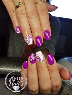 Orchid and white filigree nail art. Bright and pretty❤ - Nageldesign - Orchid and white filigree nail art. Bright and pretty❤ - Nageldesign - Floral Nail Art, Acrylic Nail Art, Acrylic Nail Designs, Nail Art Designs, Chic Nail Art, Chic Nails, Purple Nail Designs, Colorful Nail Designs, Purple Nails