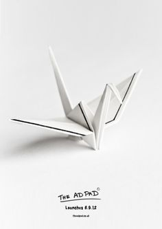 Print advertisement created by The Ad Pad, United Kingdom for The Ad Pad, within the category: Agency Self-Promo. Targeted Advertising, Advertising Agency, Advertising Design, Traditional Japanese Art, Sketch Paper, Self Promo, Wall Pockets, Print Ads, Origami