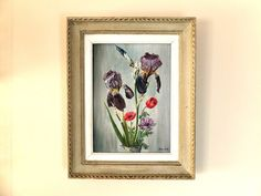 Antique french original oil painting IRIS - bunch of flowers 1956 sign R.R frame on Etsy, Sold