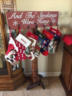42 Tutorials for DIY Stocking Hangers – Diymeg Christmas Wood Crafts, Diy Christmas Gifts, Rustic Christmas, Christmas Projects, Winter Christmas, Holiday Crafts, Christmas Decorations, Diy Christmas Home Decor, Christmas Mantles