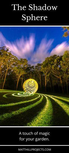 Garden ideas | Garden art | Art & design | Metal sculpture | Outdoor sculpture | Outdoor lighting | Sphere sculpture metal | Melbourne artist | Backyard lights | Garden inspiration | #garden #art