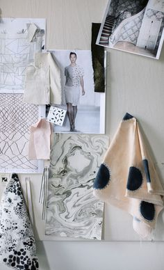 Fashion Moodboard - print, pattern & textiles research with fabric samples // Rebecca Atwood