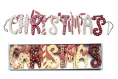 2 Shabby Chic Wooden Christmas Garland Red Cream Vintage Style Decoration Boxed