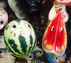 FREE SHIPPING Rare Vintage PY Anthropomorphic Watermelon Couple Salt and Pepper Shakers