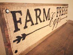 Rustic hand painted burlap sign Farm Fresh Eggs  -------------SPECS-------------------- • This sign measures 24 x 7. • Hand painted burlap