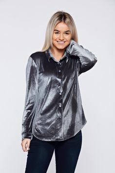 Easy cut grey casual velvet women`s shirt, women`s shirt, with buttons, pointed collar, long sleeves, easy cut, slightly elastic fabric, velvet