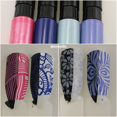 Stamping polish found on Aliexpress. These are #1 Roseo, #2 Blue, #3 Light Blue, #4 Orchid. Stamping plates used: BPL-027 and JQ-L19