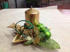 Centrotavola oro e verde per Natale