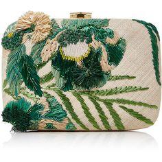 Aranaz Martina Clutch ($380) ❤ liked on Polyvore featuring bags, handbags, clutches, raffia purse, beaded clutches, beaded handbag, beaded purse and raffia handbags