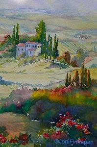Watercolor, Tuscany by Joan Finnegan Watercolor ~ 10 x 7   unframed $250