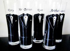 Audrey Collection - Tuxedo Groomsmen Pilsner Glasses - groom - groomsmen gift - set of 5 | Durban Decor