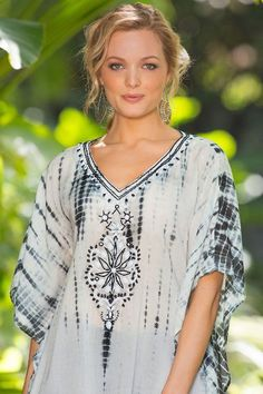 Artisal beadword and tie-dye make our Tricia Tie Dye Tunic very unique. Crafted of cool rayon, each piece is a truly unique piece.