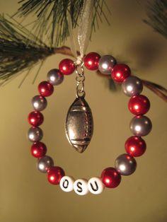 Ohio State University / OSU Glass Beaded Tree Ring / Ornament by FoxyFundanglesByCori, $5.00