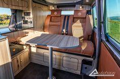 Chestnut Brown Ashton VW T6 Campervan Conversion - Autohaus Vw T5 Interior, Campervan Interior, Campervan Ideas, Campervan Conversions Layout, Camper Van Conversion Diy, Vw Motorhome, Vw Camper, Vw Bus, Volkswagen