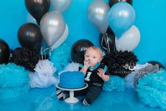 www.waterhousestudios.com, NC photographer, children's photography, children's studio photography, birthday session, cake smash session, Pathers tehemed, blue, grey, and black themed, first birthday photography