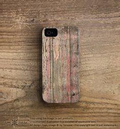 Wood iPhone 4 case - iPhone 4s case, wood iPhone 5 case, Wood Print plastic hard case texture peeled off pink painted wood print (c180)