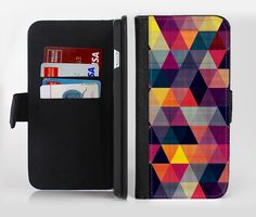 The Triangular Abstract Vibrant Colored Pattern Ink-Fuzed Leather Folding Wallet Credit-Card Case for the Apple iPhone 6/6s, 6/6s Plus, 5/5s and 5c from DesignSkinz