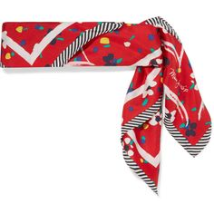 Marc Jacobs Printed silk-twill scarf ($125) ❤ liked on Polyvore featuring accessories, scarves, red, silk twill scarves, red scarves, marc jacobs scarves, striped scarves and striped shawl