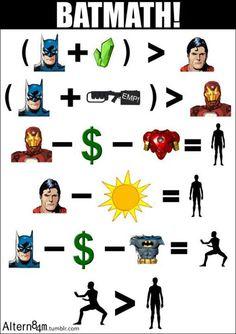 La bati matemática no falla #bathmath #batman #ironman #superman #dc #marvel #krypton #gotham #retrostv #comic