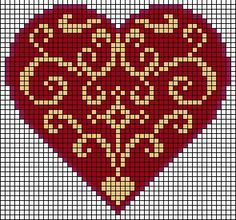 heart charts – Center motif, all over pattern or two motifs flipped together lik… – knitting charts Cross Stitch Heart, Beaded Cross Stitch, Embroidery Hearts, Cross Stitch Embroidery, Loom Patterns, Beading Patterns, Cross Stitch Designs, Cross Stitch Patterns, Art Perle