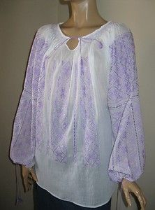 Romanian blouse hand embroidered with lavender cotton thread