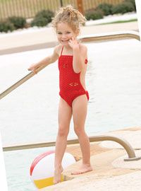 FREE CROCHET PATTERN - don't forget the little gals this summer when you crochet those swimsuits! This one actually is kid appropriate & darling.  Matching hoodie cover up on same page.
