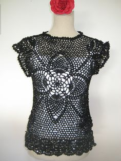 Enchanted Vest Crochet  Paillette Light Black by MinnieCreation, €65.82