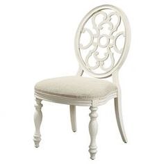 """Cameo back side chair with turned front legs and ornate openwork detail.      Product: Side chairConstruction Material: Elm and birch veneers, select hardwood solids and simulated wood componentsColor: Gardenia  Features: Turned front legsOpenwork detail     Dimensions: 40"""" H x 22"""" W x 25"""" DNote: Assembly required"""