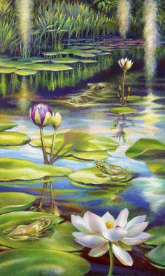 tropical art ~ Water Lilies at McKee Gardens III - Alligator and Frogs by Nancy Tilles Water Lilies Painting, Lotus Painting, Lily Painting, Watercolor Water, Watercolor Projects, Watercolor Techniques, Koi Art, Lotus Art, Pastel