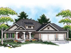 Ranch House Plan with 1694 Square Feet and 3 Bedrooms from Dream Home Source | House Plan Code DHSW52247