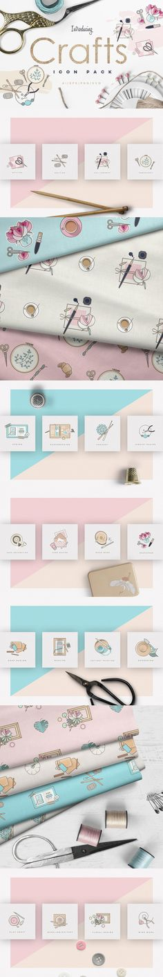 Crafts Icon Pack by Polar Vectors. I am so happy to present you with this new Crafts Icon Pack! It`s a lovely collection of 20 crafting icons that will work perfectly for both web and print purposes. Dashboard Design, Business Illustration, Pencil Illustration, Web Design, Graphic Design, Icon Design, Clipart, Illustrator Cs5, Photoshop