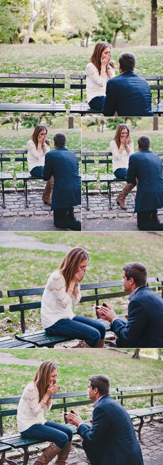 This is perfect. I've will neverrrr want a big elaborate proposal. Just a beautiful day and a park bench.