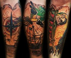 Pirate Ship Tattoo Sleeve | Pirate Ship and Parrot Tattoo Sleeve by Nic Westfall