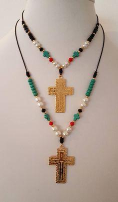 Cross Necklace #gemstones #catholicgift #ourfather #takkaibykarina #etsyshop #catholicjewelry #giftidea #handmadejewelry #crossnecklace #bohonecklace #bohemian #bijoux2018 #necklace #pearls #giftformother