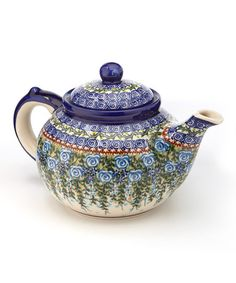 Take a look at this Blue Roses Large Teapot by Lidia's Polish Pottery on #zulily today!